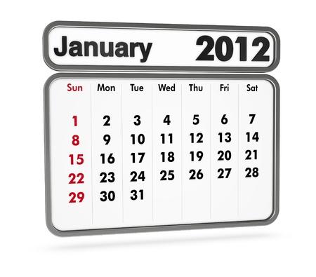 january 2012 calendar on white background (3d render) Stock Photo - 9553368