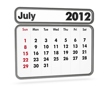july 2012 calendar on white background (3d render) Stock Photo - 9553362