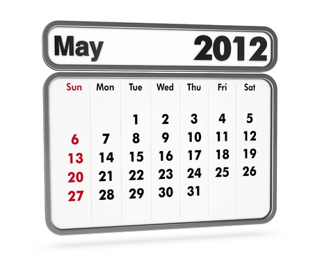 may 2012 calendar on white background (3d render) photo