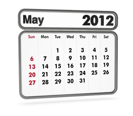 metallic  sun: may 2012 calendar on white background (3d render)