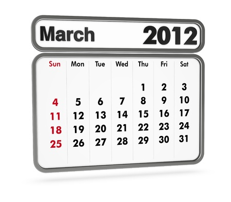 march 2012 calendar on white background (3d render) Stock Photo - 9553366
