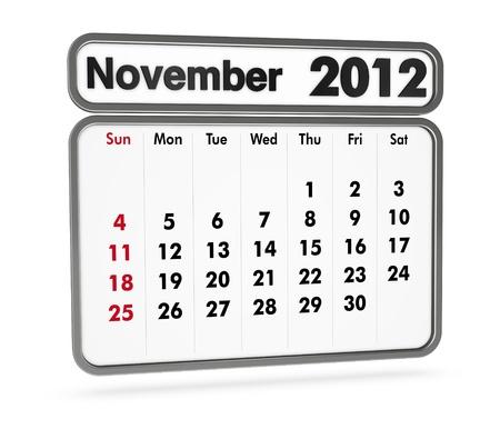 november 2012 calendar on white background (3d render) Stock Photo - 9553370