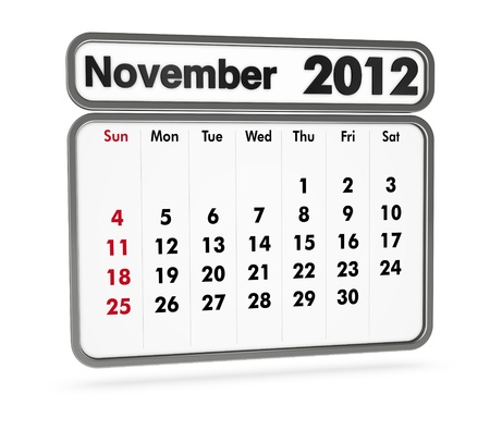 november 2012 calendar on white background (3d render) Stock Photo - 9553370