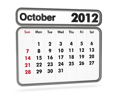 october 2012 calendar on white background (3d render) photo