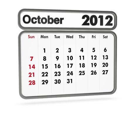 october 2012 calendar on white background (3d render) Stock Photo - 9553369