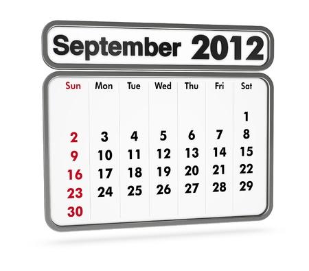 september 2012 calendar on white background (3d render) photo