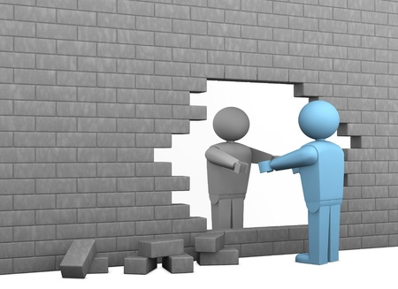 muro rotto: una parete rotta con due personaggi dei cartoni animati, uno aiutando gli altri a diventare libera (rendering 3d) Archivio Fotografico