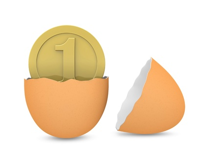 one broken egg with a coin inside of it (3d render) photo