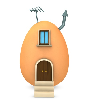 strange: one house made with an egg (3d render)