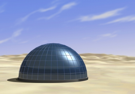 futuristic nature: one dome in the middle of a desert (3d render) Stock Photo