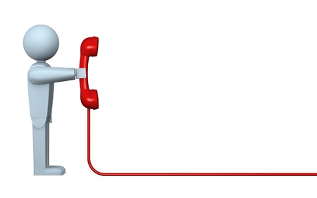 telephone line: one cartoon character with a telephone receiver and a cable that goes out to the right (3d render)