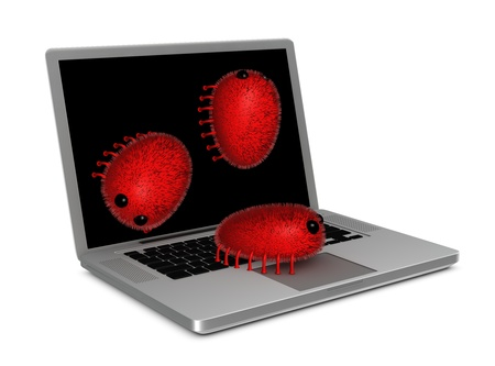 one portable computer attacked by viruses (3d render) photo