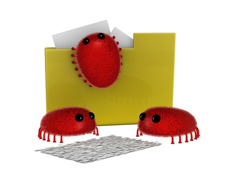 one folder icon attacked by viruses with two of them that are destroying a document (3d render) Stock Photo - 9553378