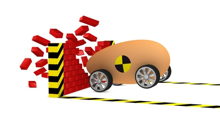 one egg car in a crash test breaks a brick wall. Concept of strength and fragility (3d render) photo