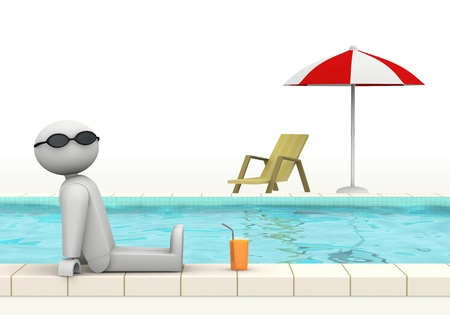 one 3d man at the edge of a swimming pool with sunglasses and a glass of fresh beverage (3d render)