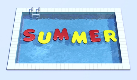 top view of swimming pool with inflatable pillows that form the word summer (3d render) photo