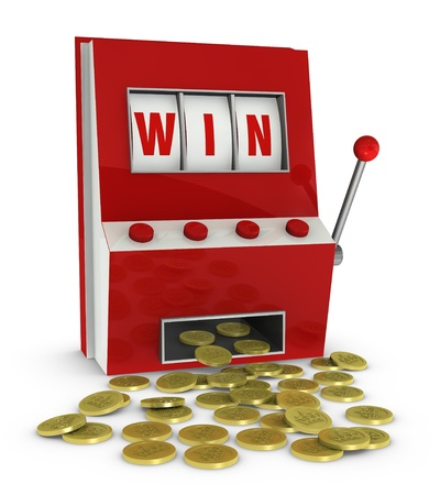jackpot: one slot machine with the word win and a lot of coins that go out of it (3d render) Stock Photo