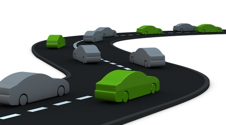 road with many cars, some of them are at zero pollution (3d render) photo