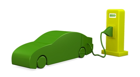 an electric car that recharges (3d render) Stock Photo - 9614938