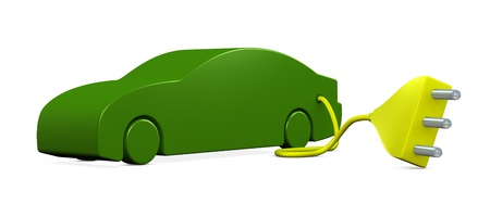 one electric car with a plug (3d render) photo