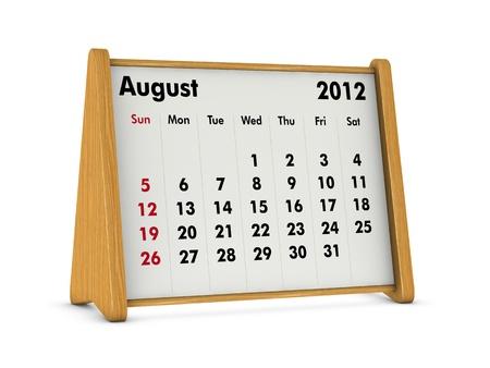 august 2012 elegant wooden calendar on white background (3d render) Stock Photo - 9641572