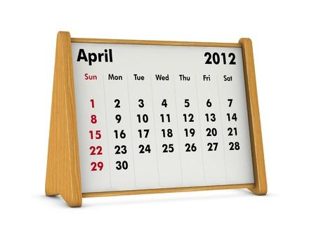 weekday: april 2012 elegant wooden calendar on white background (3d render) Stock Photo