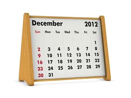 december 2012 elegant wooden calendar on white background (3d render) Stock Photo - 9641576