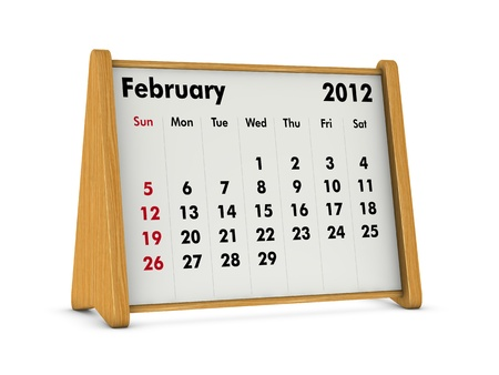 february 2012 elegant wooden calendar on white background (3d render) photo