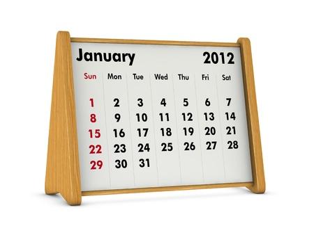 january 2012 elegant wooden calendar on white background (3d render) photo