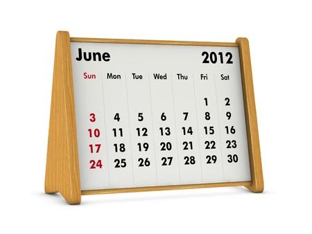 june 2012 elegant wooden calendar on white background (3d render) Stock Photo - 9641568