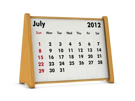 july 2012 elegant wooden calendar on white background (3d render) Stock Photo - 9641566
