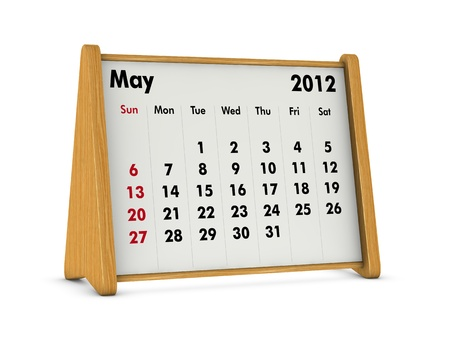 may 2012 elegant wooden calendar on white background (3d render) photo
