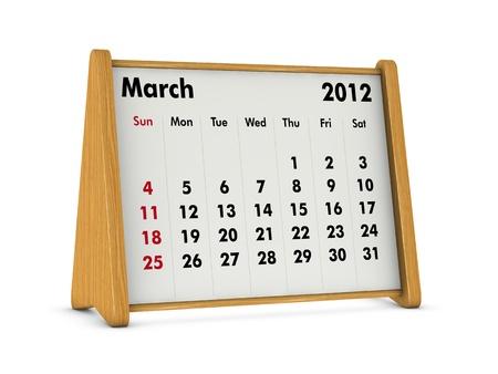 march 2012 elegant wooden calendar on white background (3d render) photo