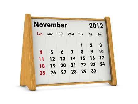 november 2012 elegant wooden calendar on white background (3d render) Stock Photo - 9641575