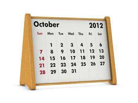 october 2012 elegant wooden calendar on white background (3d render) Stock Photo - 9641574