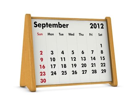 september 2012 elegant wooden calendar on white background (3d render) Stock Photo - 9641577