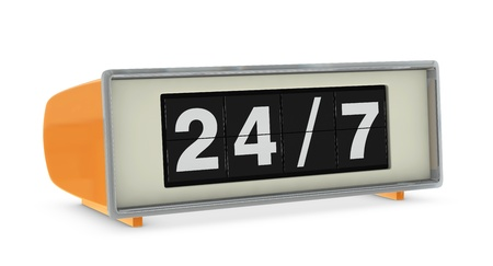 old digital clock indicating 247 availability (3d render) photo