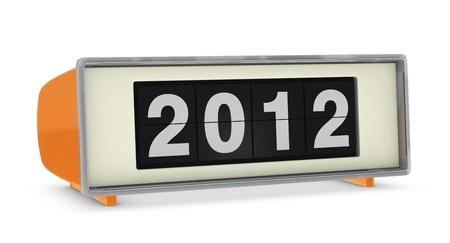 old digital clock showing year 2012 (3d render) photo