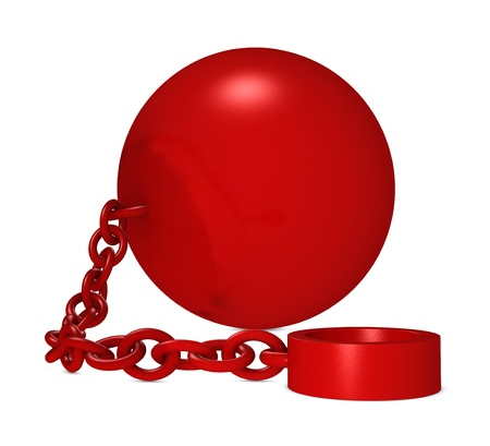 obstruction: one iron ball with chain and blank space for your text (3d render)