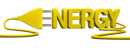 electrical energy: the word ENERGY with an electrical plug that forms the letter E (3d render) Stock Photo