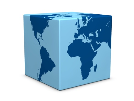 one earth globe formed with a cube instead of a sphere (3d render) Stock Photo - 9702505