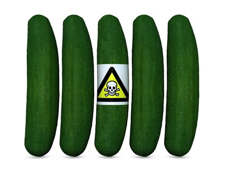 concept of cucumber killer reflecting the recent news of possible virus that caused many deaths in europe photo