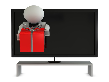 announcer: one announcer that goes out from a tv for deliver a prize (3d render) Stock Photo