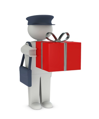 postman: one postman that deliver a gift or a prize (3d render)