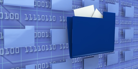 several pc folders with one in evidence and a background wall with binary code (3d render) Stock Photo - 9702514