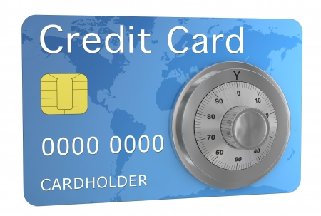 one credit card with a combination wheel, concept of security (3d render) photo