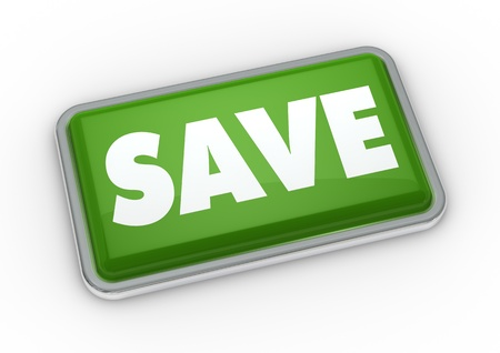 one green button with the word save (3d render) photo