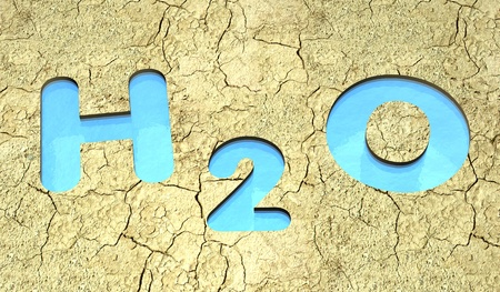 closeup of arid land with three lakes that form the chemical water formula h2o (3d render) photo