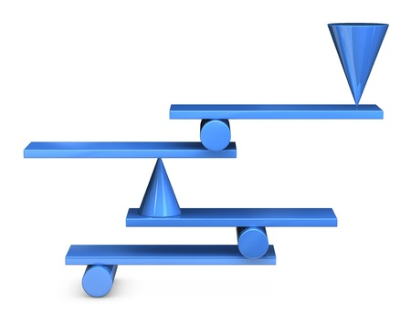 set of geometric shapes in a impossible balance (3d render)