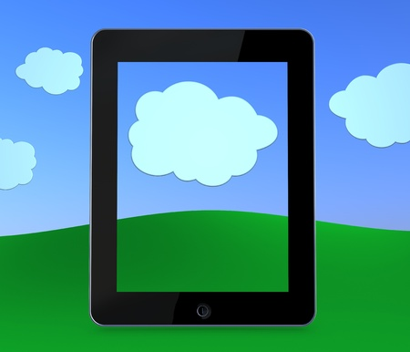 one tablet without the display that shows a big cloud. concept of cloud computing (3d render) Stock Photo - 9865378